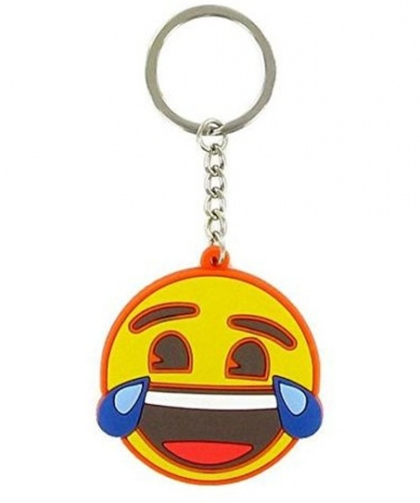 Comansi sleutelhanger Laughter Crying Face 10 cm geel