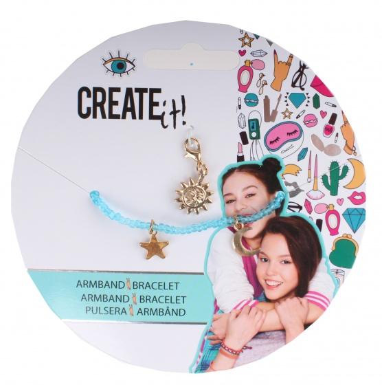 Create It! armbandje met bedeltjes blauw-goud