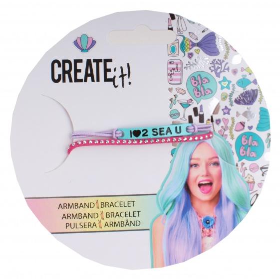 Create It! armbandje met bedeltjes blauw-paars-roze