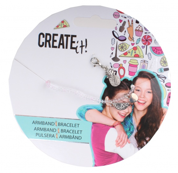 Create It! armbandje met bedeltjes transparant-zilver
