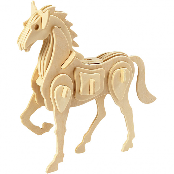 Creotime 3D Houten constructie set paard 18 x 4,5 x 16 cm