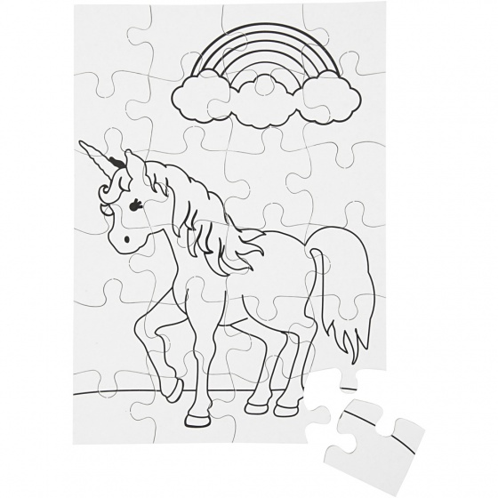 Creotime blanco puzzel eenhoorn 15 x 21 cm