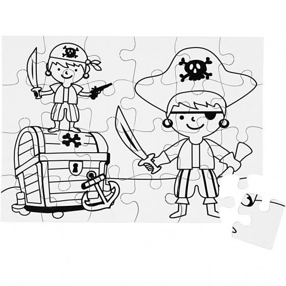 Creotime blanco puzzel piraten 15x21 cm 16 stuks