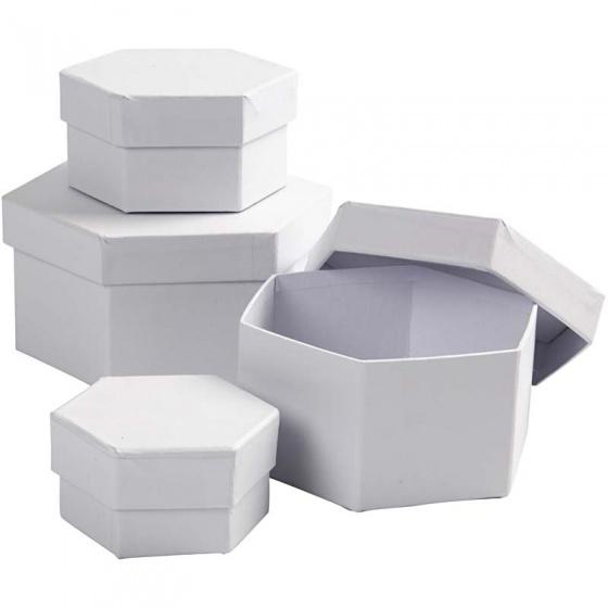 Creotime dozen Hexagonaal karton 6,5 8 10 12 cm wit 4 delig