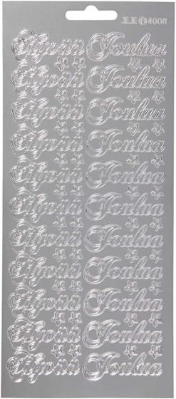 Creotime foliestickers Hyvaa Joulua 66 stuks zilver