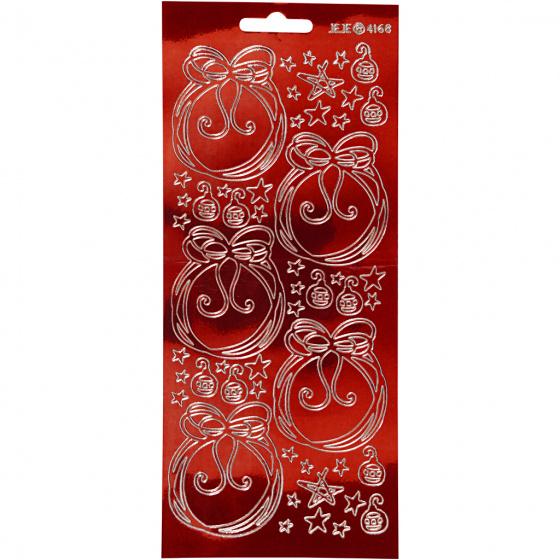 Creotime foliestickers Kerstversiering 51 stuks rood