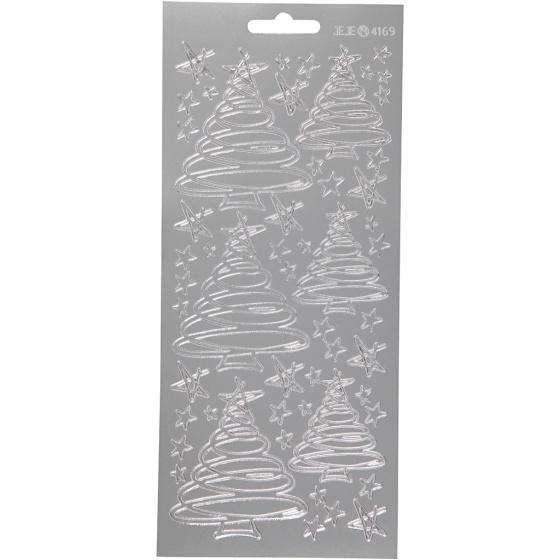 Creotime foliestickers Kerstversiering 53 stuks zilver