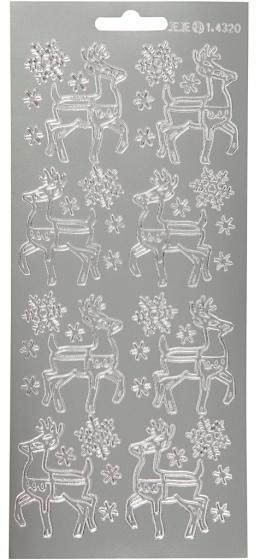 Creotime foliestickers rendier 1 stickervel zilver