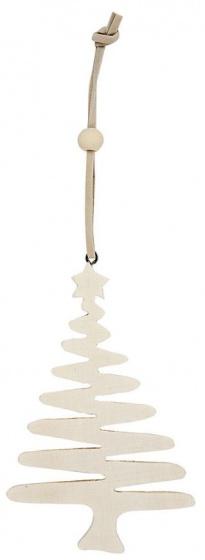 Creotime houten kerstboom 10,5 cm blank 4 stuks