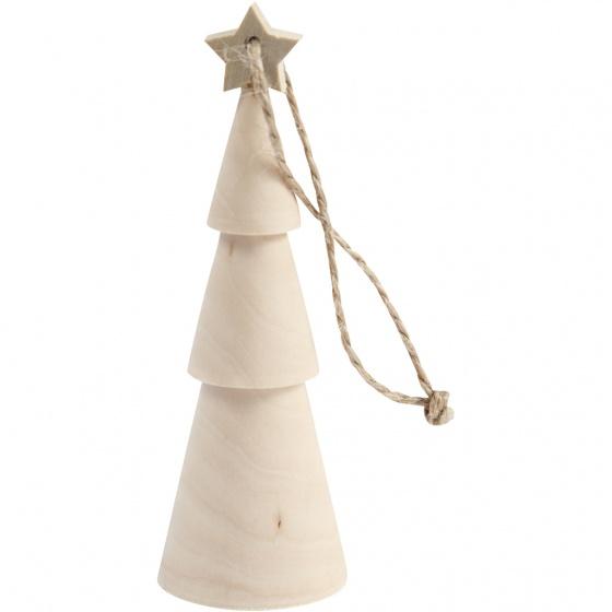Creotime houten kerstboom 3 x 9 cm blank