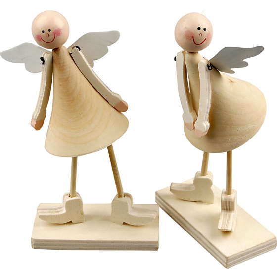 Creotime Kegelvormige engelen 15 cm bruin