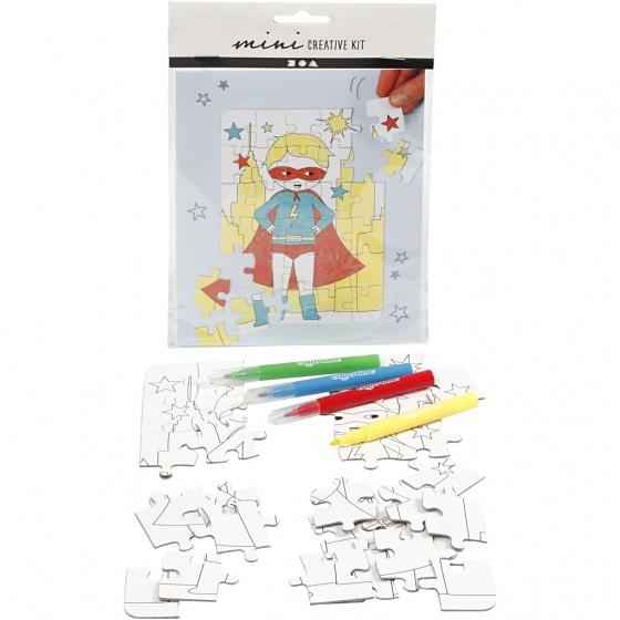 Creotime kleur je eigen puzzel superheld 15x18 cm 5 delig