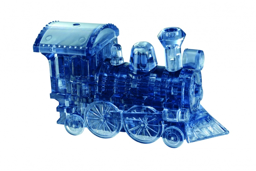 Crystal Puzzle 3D Stoomlocomotief Blauw 38 Delig