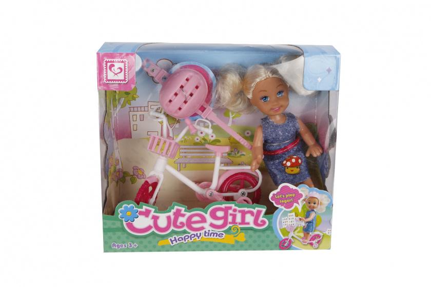 Cute Girl pop met fiets meisjes 10 cm roze 3 delig