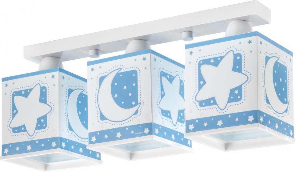 3-lichts plafondlamp Stars, lichtblauw