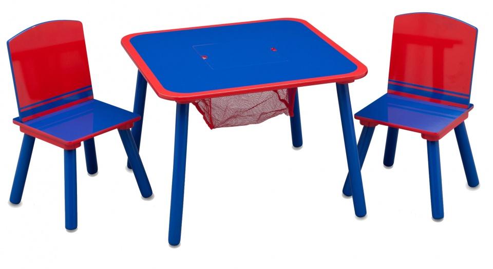 Tafeltje met 2 stoelen Blauw-Rood