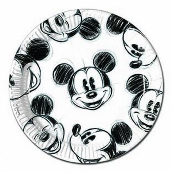 Disney borden Mickey Mouse 23 cm papier wit/zwart 25 stuks