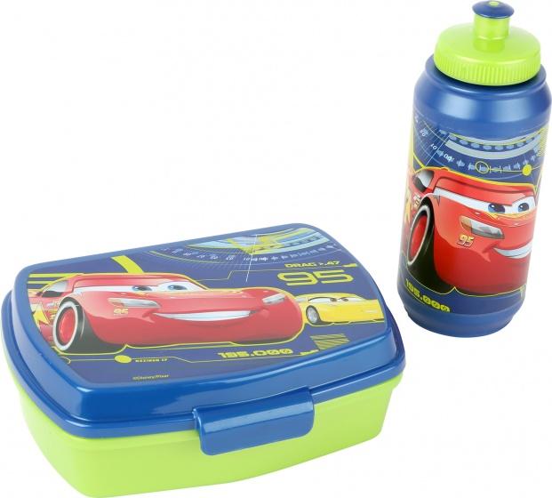 Disney Cars lunchset: broodtrommel en bidon blauw/groen kopen