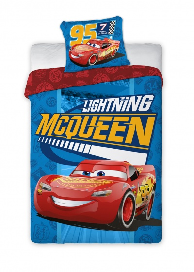 Disney Dekbedovertrek Cars McQueen 140 x 200 cm blauw