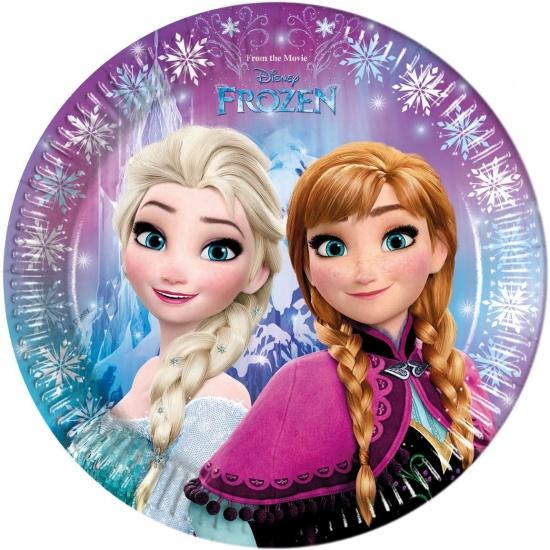 Disney Frozen lights feestborden 23 cm roze 8 stuks