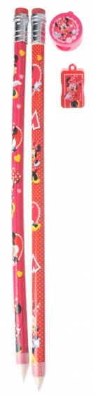 Disney Jumbo Potlood 2 Stuks Met Puntenslijper Minnie Mouse