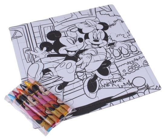 Disney kleurplaat en puzzel Mickey Mouse 15 cm karton 23 delig