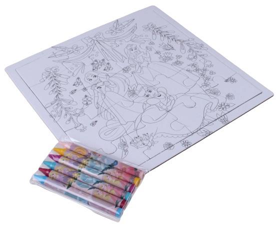 Disney kleurplaat en puzzel Princess 15 cm karton 23 delig