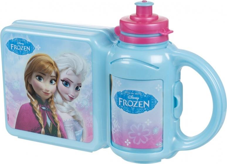 Disney Frozen lunchset: broodtrommel met beker blauw kopen