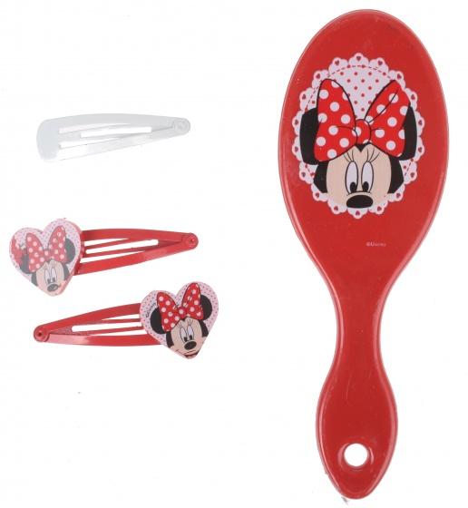 Disney Minnie Mouse borstel en speldjes 5 delig rood