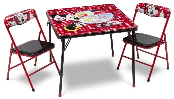 Disney Minnie Mouse Tafel en 2 stoelen rood 60 x 60 x 50 cm
