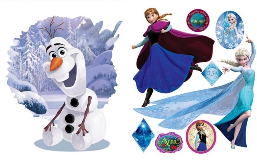 Muursticker Elsa & Olaf 100x70cm