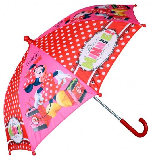 Disney Paraplu Minnie Mouse fotoprint 65 cm rood/roze