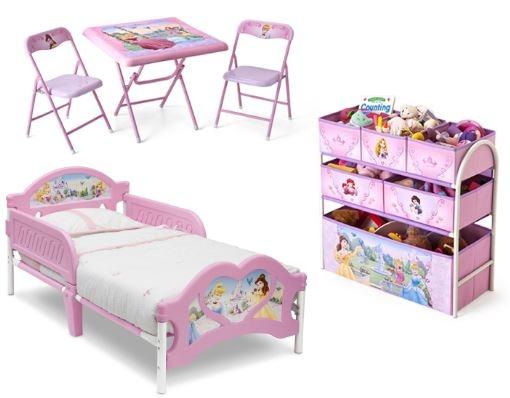 Disney Princess 99451PS Meubelset Bed, Opbergkast en Tafel met Stoelen