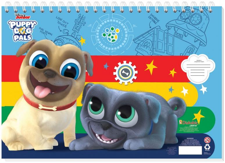 Disney sticker en kleurboek Puppy Dog Pals 33 cm papier blauw