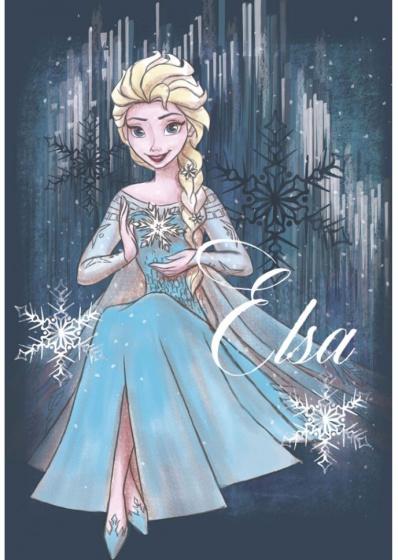 Disney verjaardagskaart Froze Elza meisjes papier blauw