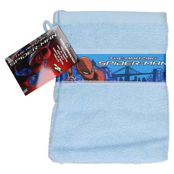 Disney washandje Spider Man 21 x 16 cm lichtblauw kopen