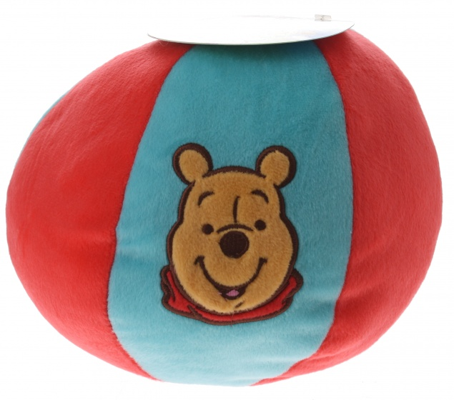 Disney Winnie the Pooh bal pluche rood/blauw 20 cm