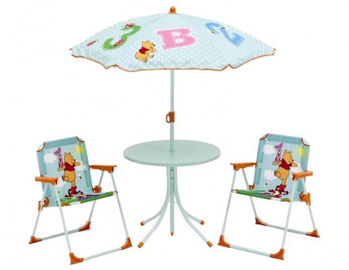 Disney Winnie the Pooh Tuinset Tafel/Stoelen/Parasol blauw