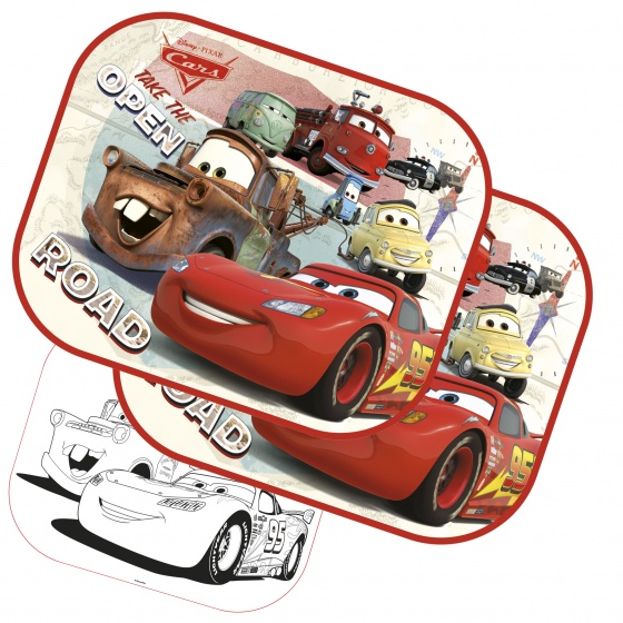 Disney zonnescherm Cars 2 stuks 45 x 36 cm + kleurplaat kopen