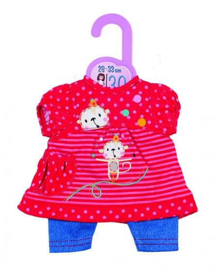 Dolly Moda kledingset 30 cm rood-blauw