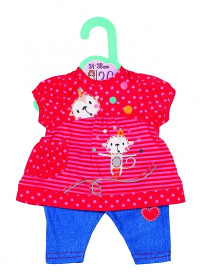 Dolly Moda kledingset 36 cm rood-blauw