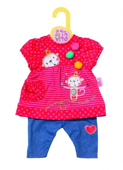 Dolly Moda kledingset 43 cm rood-blauw