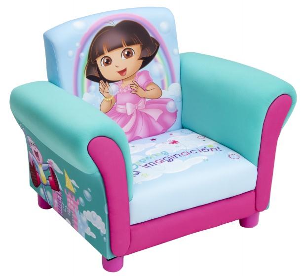 Nickelodeon Dora gestoffeerde stoel lichtblauw/roze