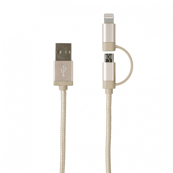 Dresz 2 in 1 laadkabel micro USB + 8 pin 150 cm goud