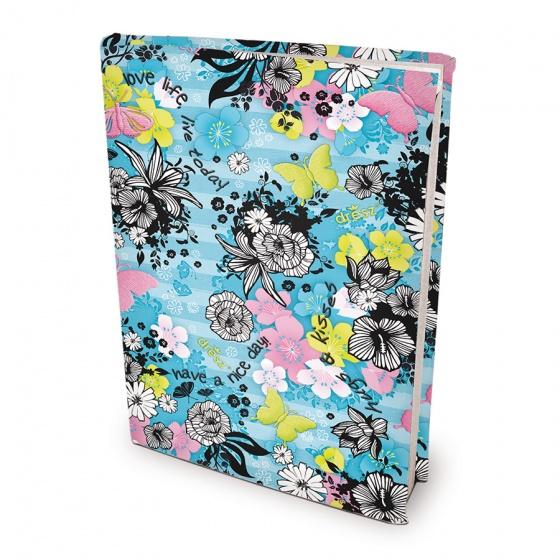 Dresz elastische boekenkaft A4 Flowers textiel/elastaan