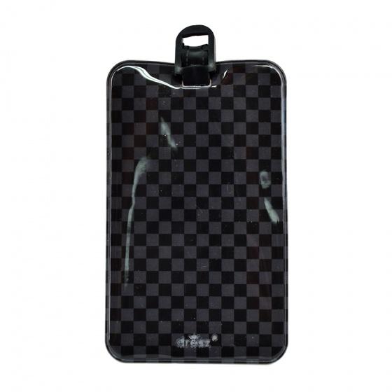 Dresz kofferlabel Check PU leer 11 x 7 cm zwart/grijs kopen