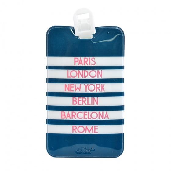 Dresz kofferlabel City PU leer 11 x 7 cm blauw/wit kopen