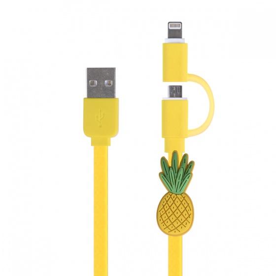 Dresz laadkabel ananas 2 in 1 Mic USB 8 pin geel