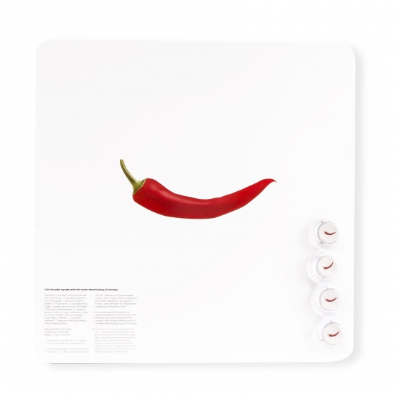 Dresz magneetbord rode peper aluminium 29 x 29 cm wit/rood