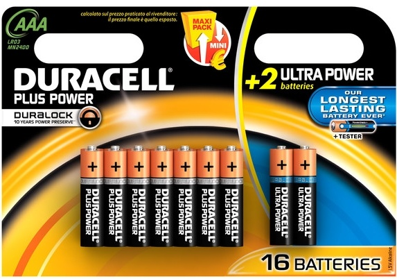 Duracell Batterijen Power Plus MN 2400 AAA 16 stuks